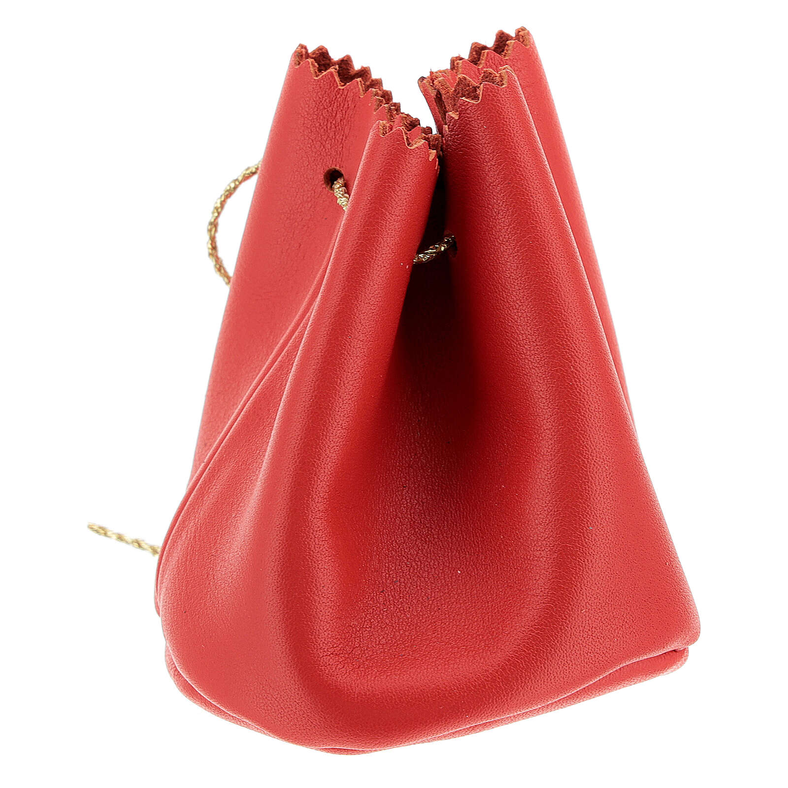 Sachet pour Huile Sainte en cuir véritable rouge 3