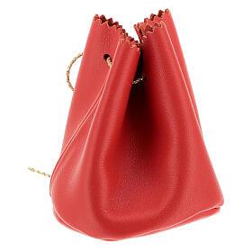 Sachet pour Huile Sainte en cuir véritable rouge s2