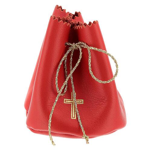 Sachet pour Huile Sainte en cuir véritable rouge 1