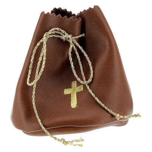 Holy oil bag in brown leather 1