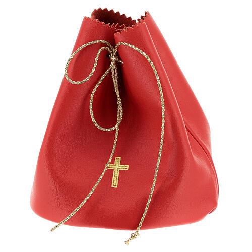 Sacchetto porta 3 vasetti olio santo in vera pelle rossa 1