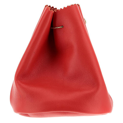 Sacchetto porta 3 vasetti olio santo in vera pelle rossa 2