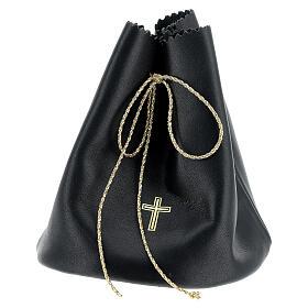Sacchetto porta 3 vasetti olio santo in vera pelle nera s1