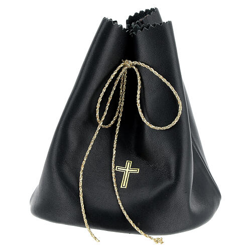 Sacchetto porta 3 vasetti olio santo in vera pelle nera 1