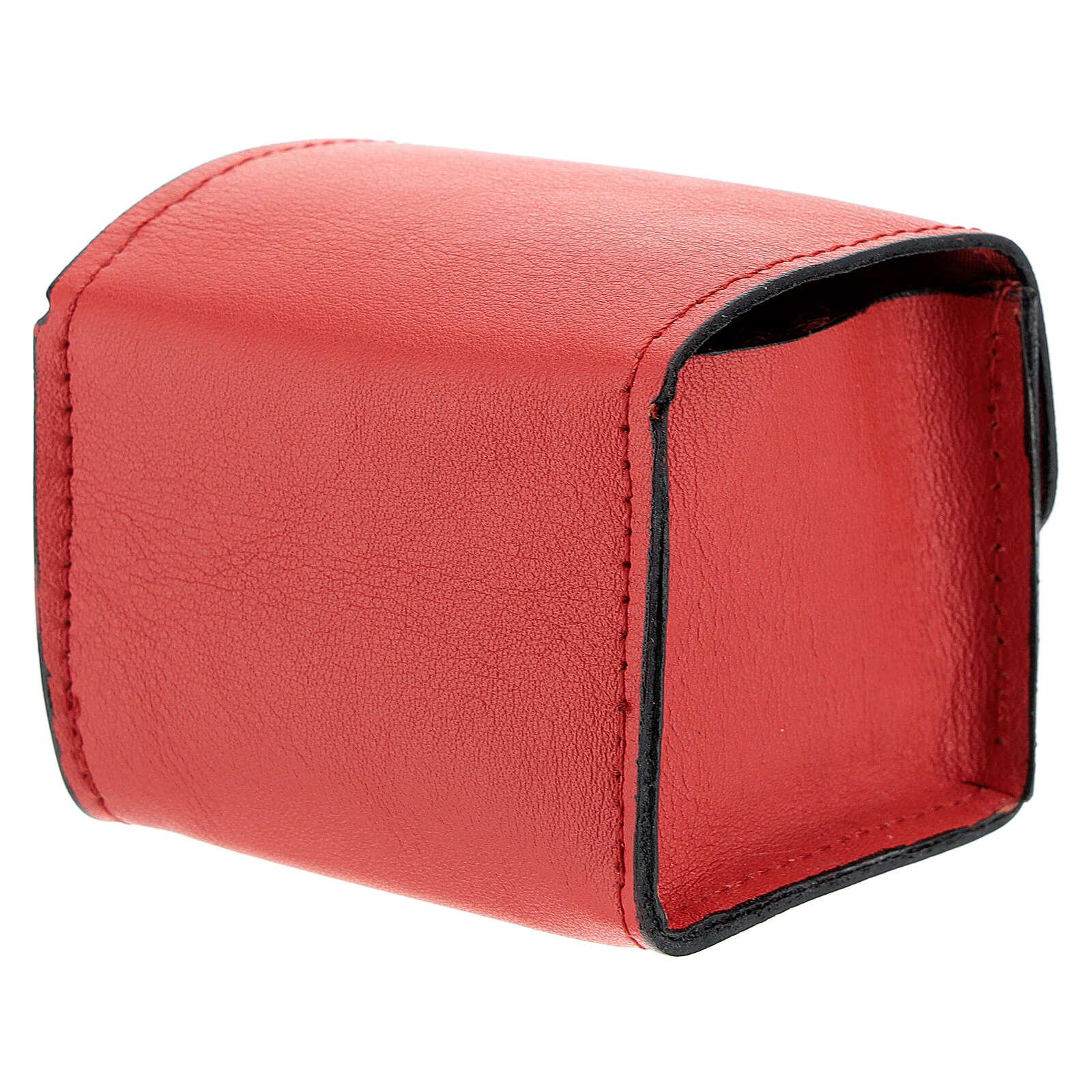 Étui rigide pour vase Huiles Saintes en cuir véritable rouge 3