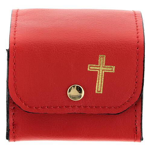 Étui rigide pour vase Huiles Saintes en cuir véritable rouge 1