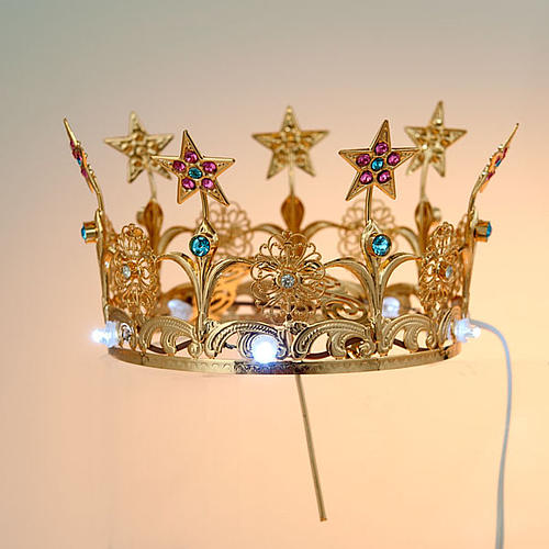 Luminous crown in brass filigree gold color 2