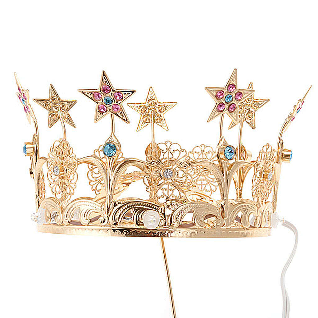 Luminous crown in brass filigree gold color 3