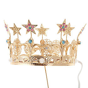 Luminous crown in brass filigree gold color s1