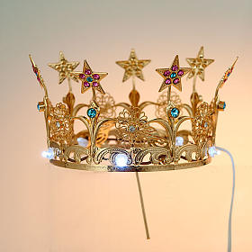 Luminous crown in brass filigree gold color s2