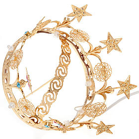 Luminous crown in brass filigree gold color s3