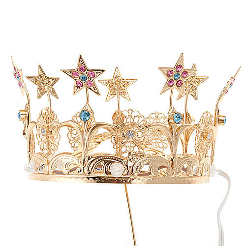 Luminous crown in brass filigree gold color 1