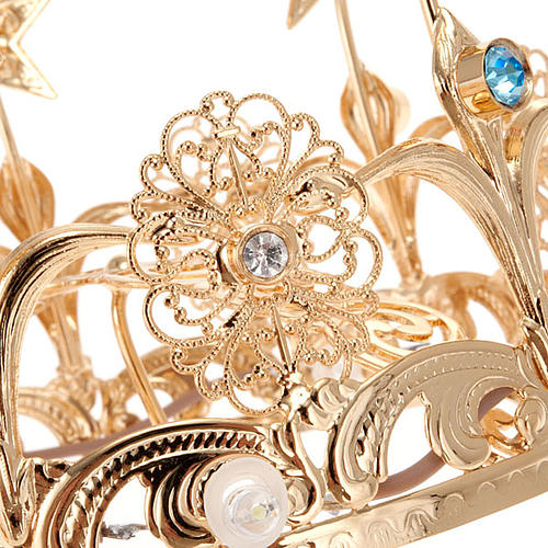 Luminous crown in brass filigree gold color 6