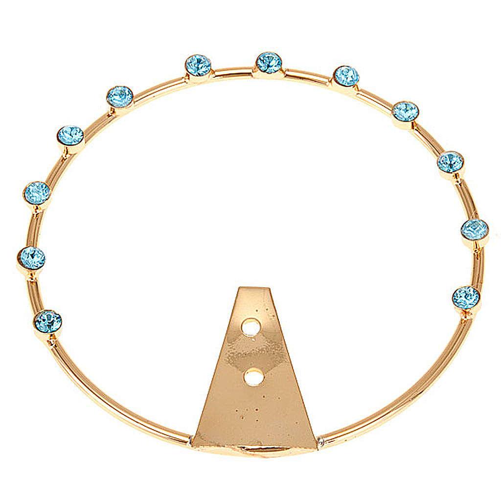 Aureola per santi ottone e strass azzurri 3