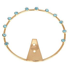 Aureola per santi ottone e strass azzurri s1