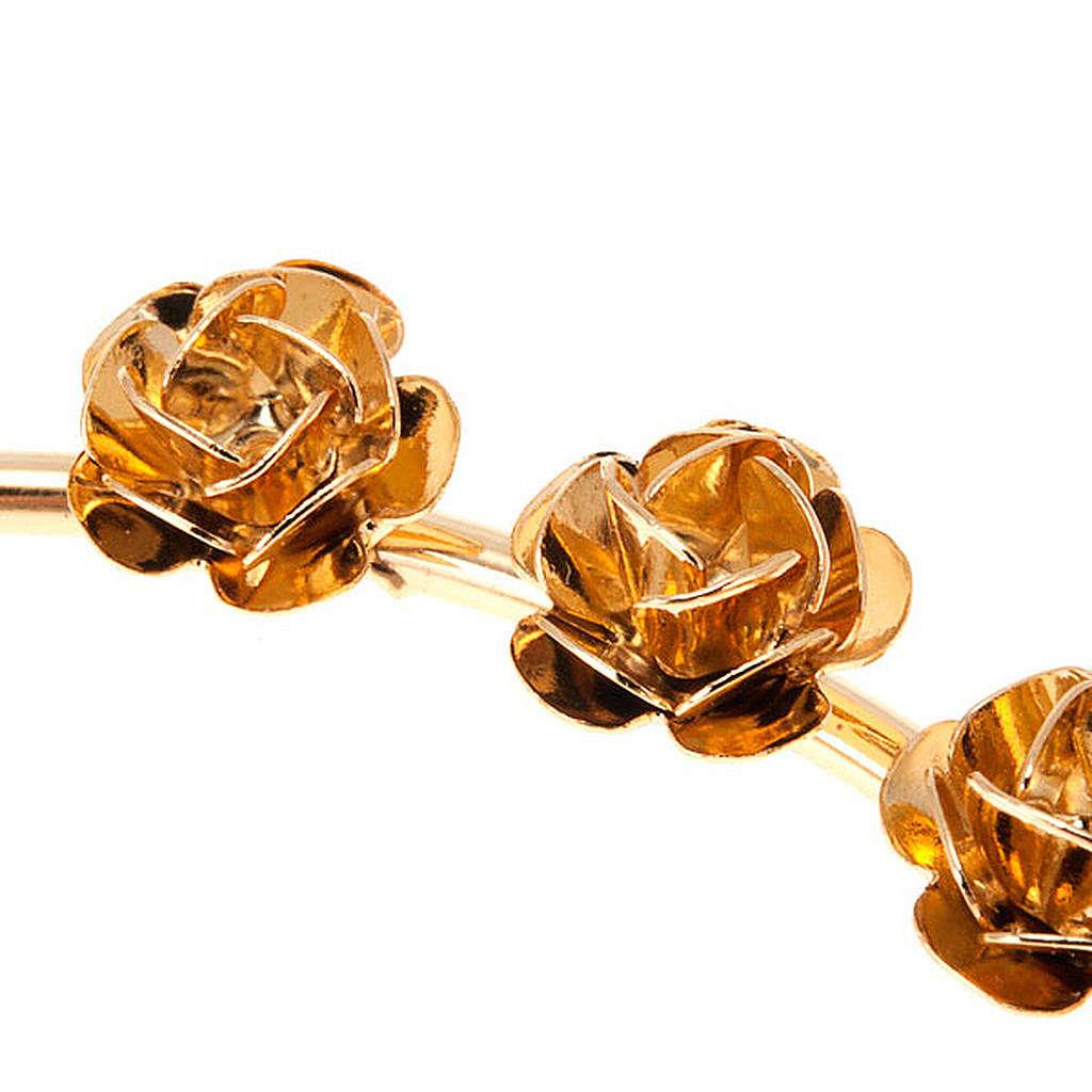 Auréola Nossa Senhora latão dourado rosas 3