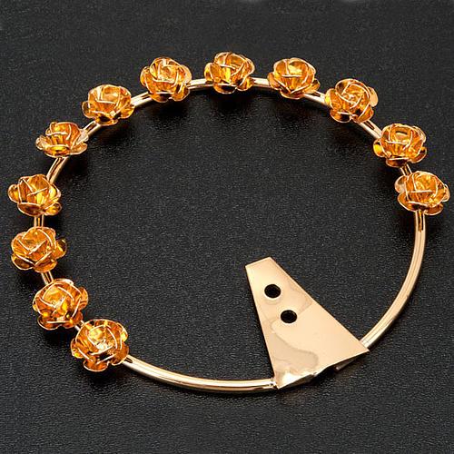 Auréola Nossa Senhora latão dourado rosas 2