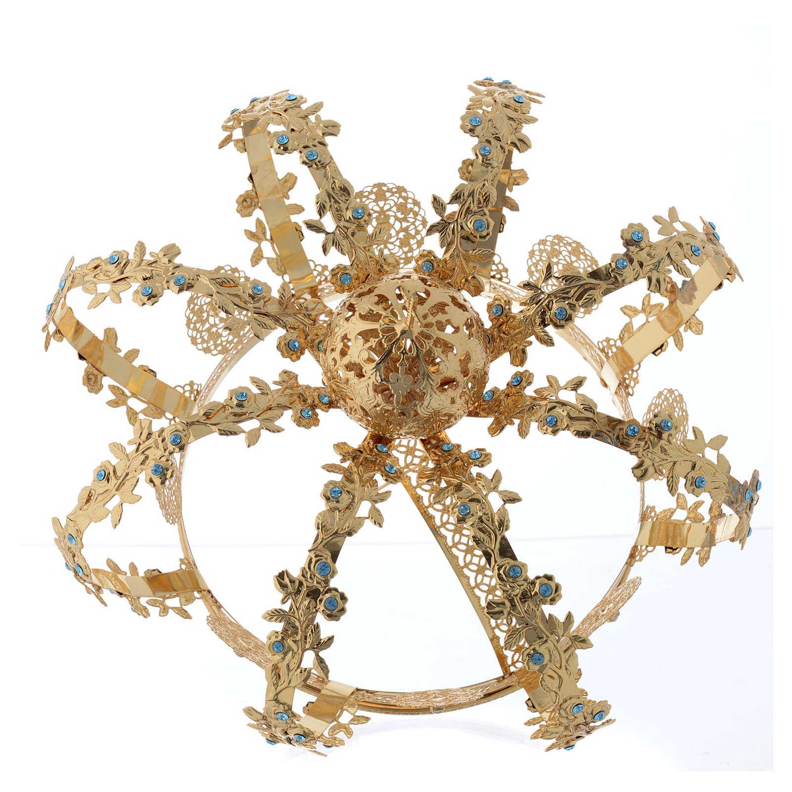 Our Lady crown golden brass - light blu strass 3