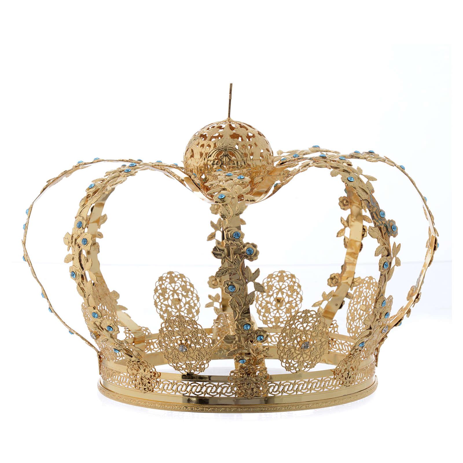 Corona latón dorado - estrás azul 3