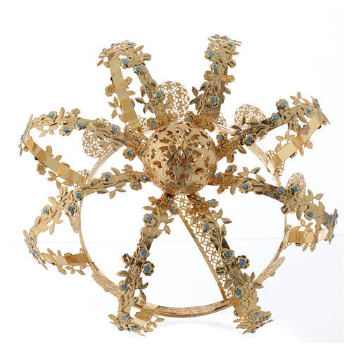 Corona latón dorado - estrás azul 4