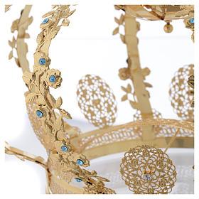 Coroncina Madonna ottone dorato - strass azzurri s5