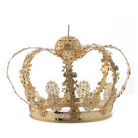 Coroa Nossa Senhora latão dourado strass azuis  s2