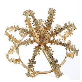 Coroa Nossa Senhora latão dourado strass azuis  s4