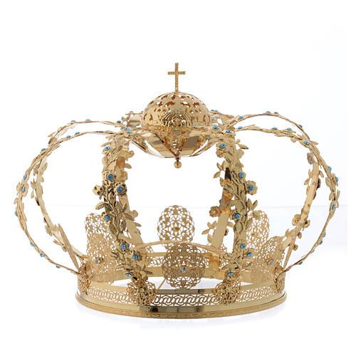 Coroa Nossa Senhora latão dourado strass azuis  1