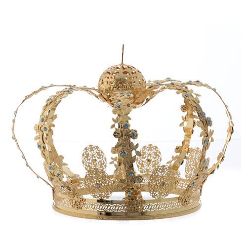 Coroa Nossa Senhora latão dourado strass azuis  2