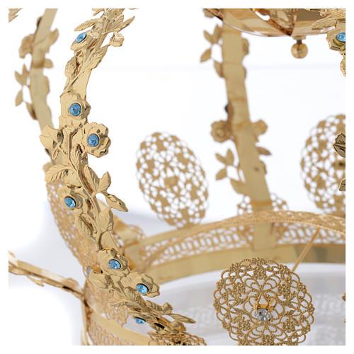 Coroa Nossa Senhora latão dourado strass azuis  5