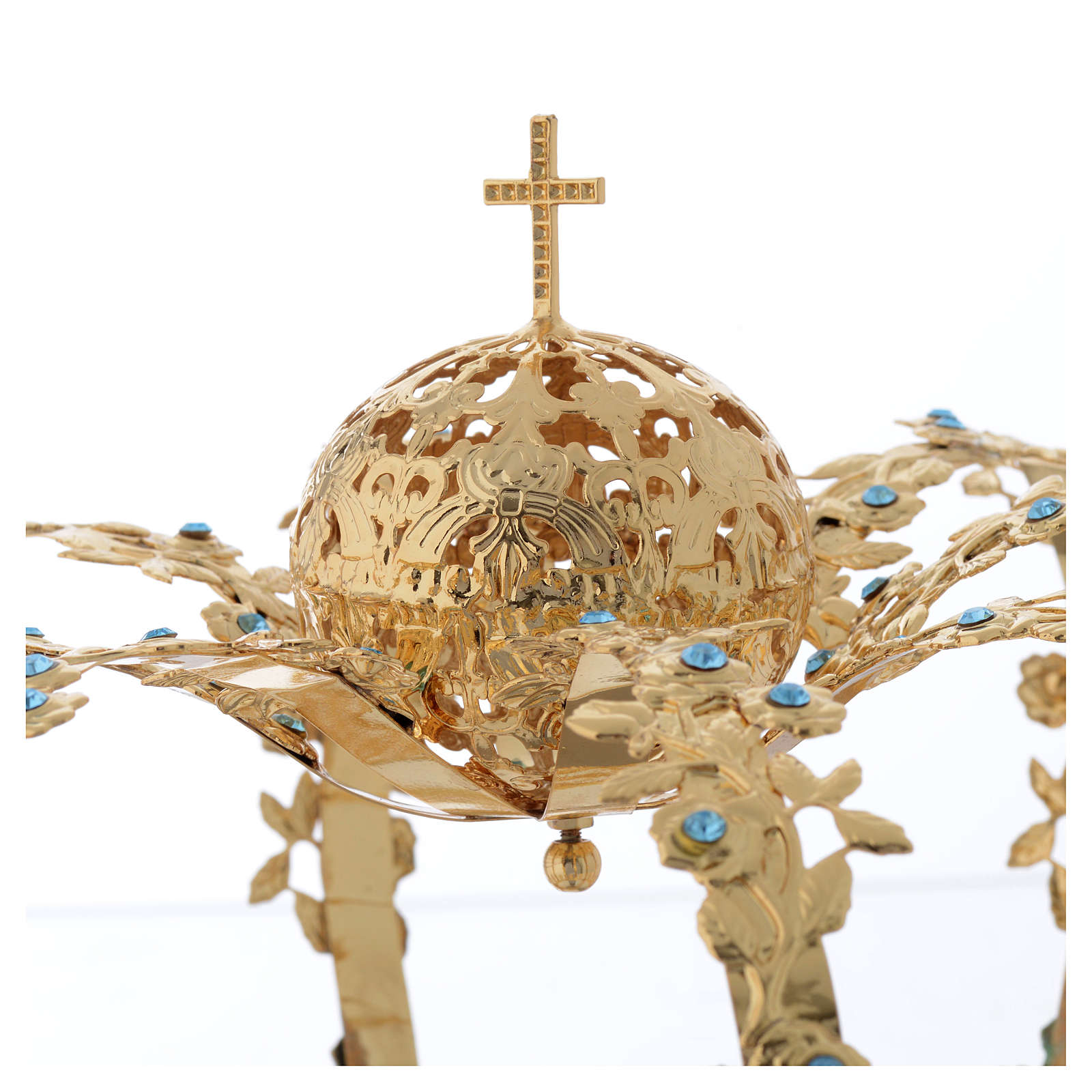 Madonna Imperial Crown in Golden Brass with light Blue Strass 3