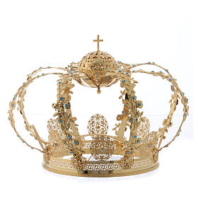 Crowns And Halos For Religious Statues Madonna Imperial Crown In Golden Brass With Light Blue