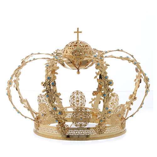 Madonna Imperial Crown in Golden Brass with light Blue Strass 1