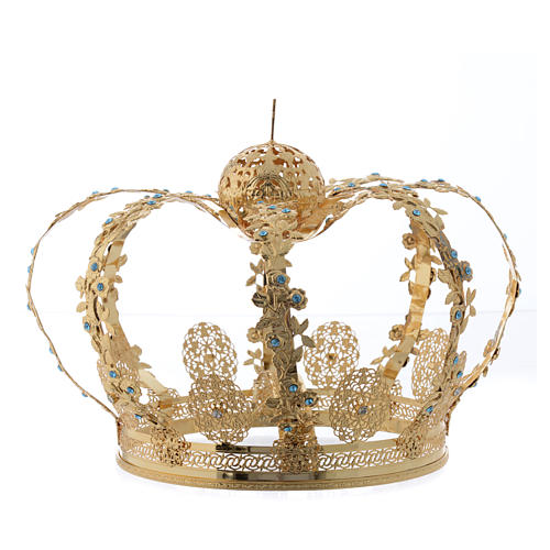 Madonna Imperial Crown in Golden Brass with light Blue Strass 2