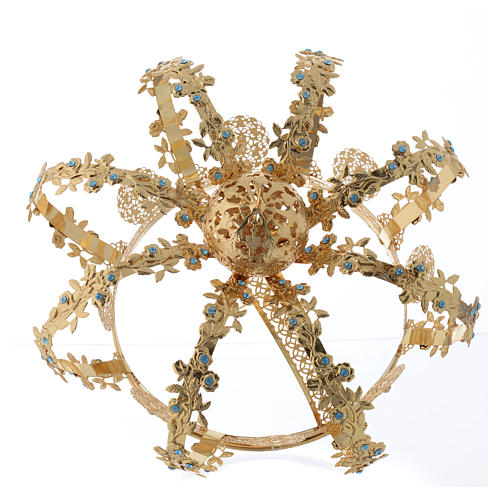 Madonna Imperial Crown in Golden Brass with light Blue Strass 4