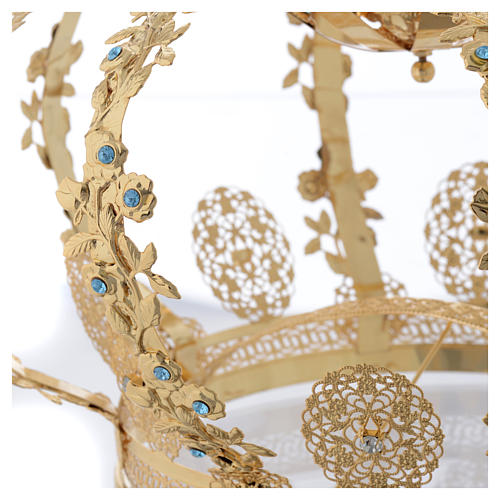 Madonna Imperial Crown in Golden Brass with light Blue Strass 5
