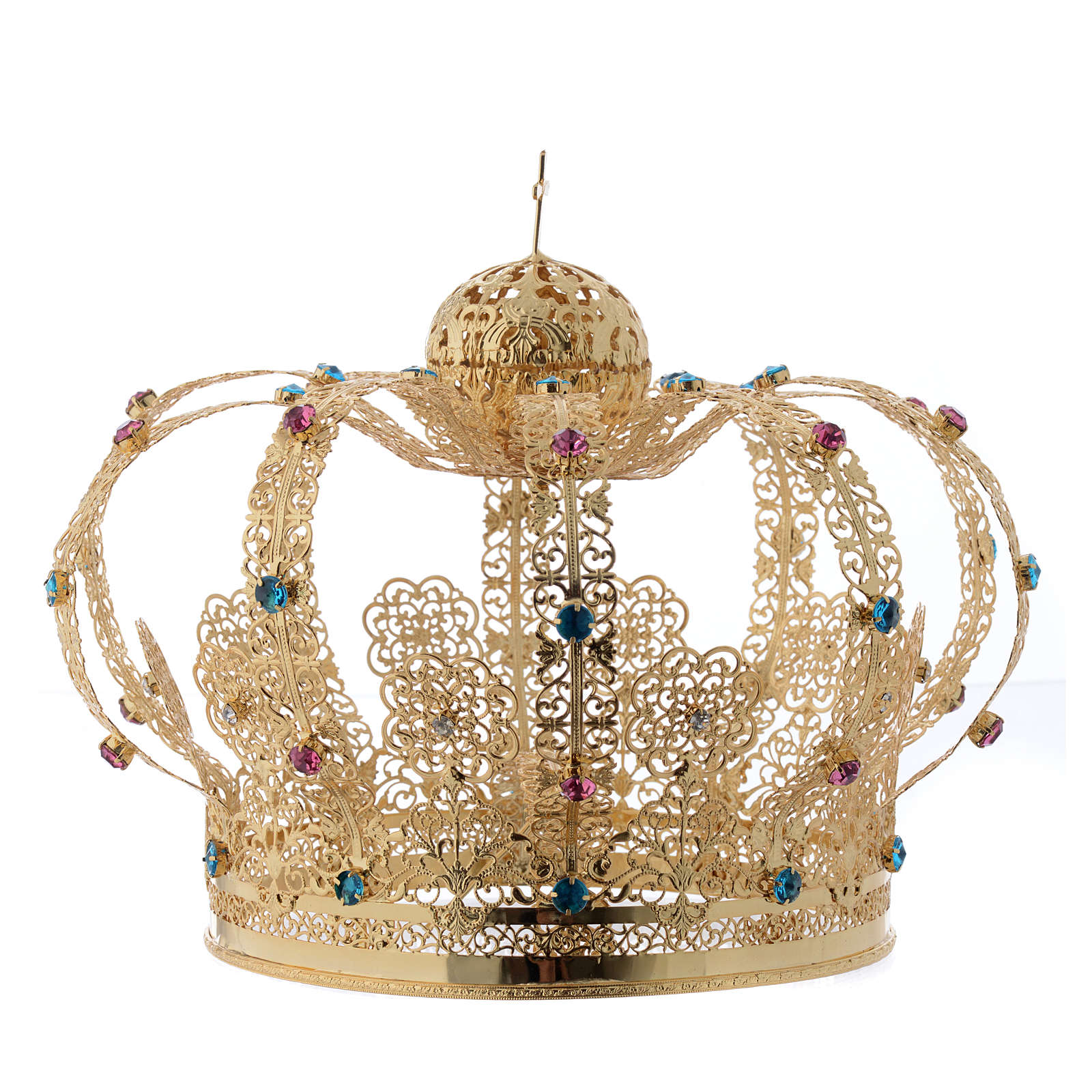 Krone Madonna vergoldete Messing gefarbte Kristalle 3