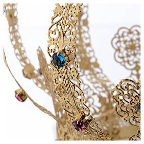 Krone Madonna vergoldete Messing gefarbte Kristalle s5