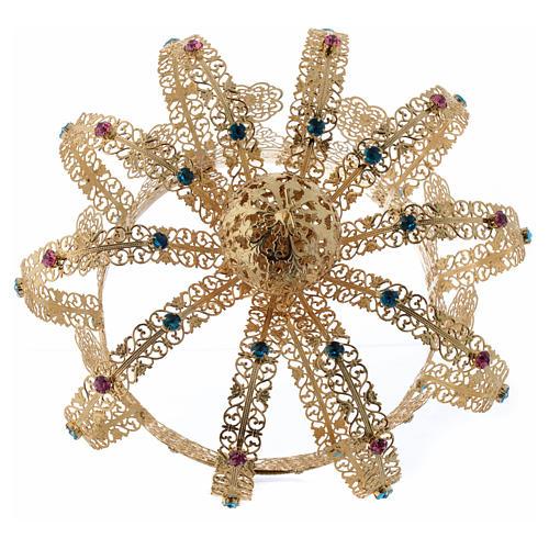 Krone Madonna vergoldete Messing gefarbte Kristalle 4