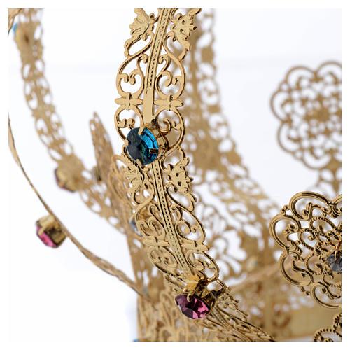 Krone Madonna vergoldete Messing gefarbte Kristalle 5