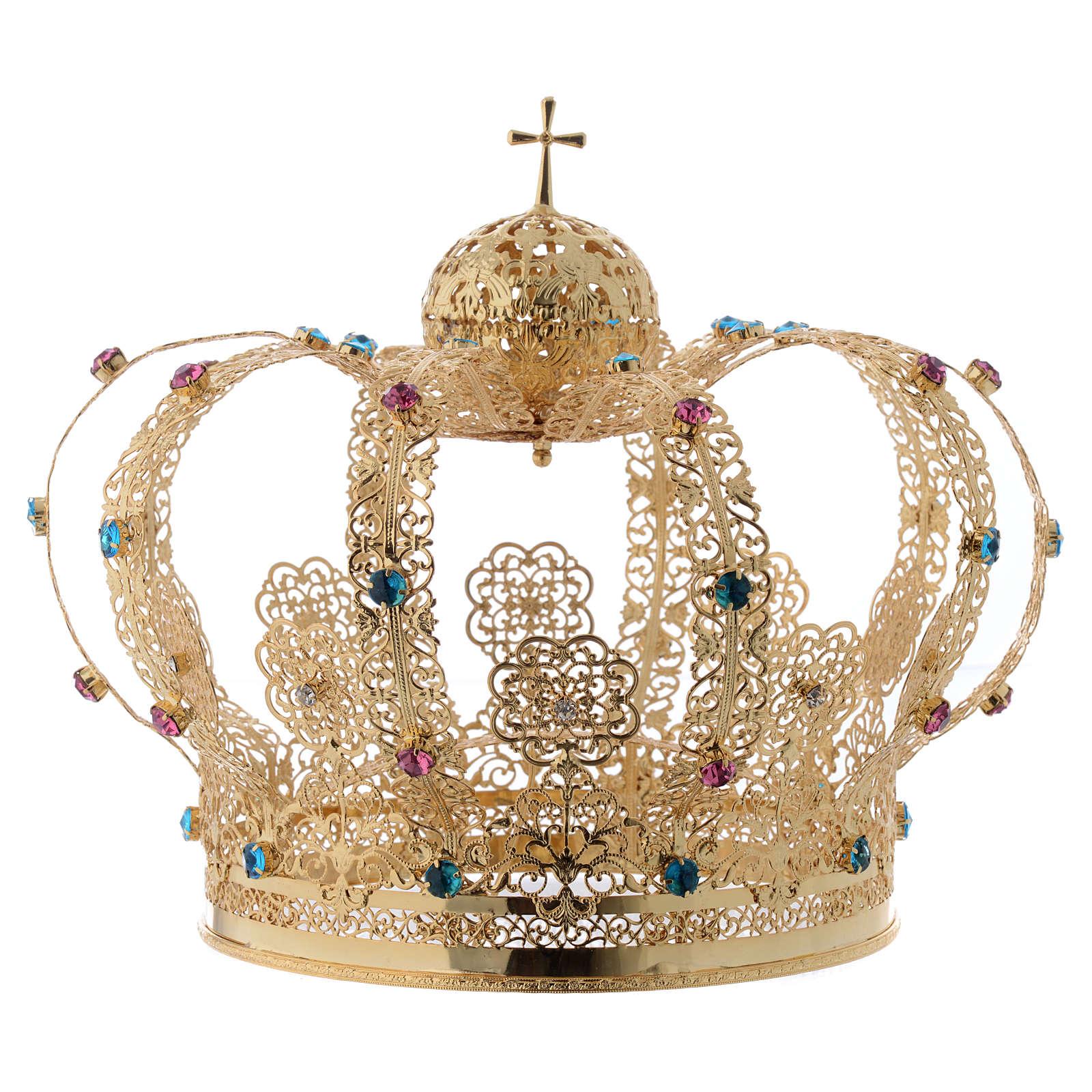 Corona latón dorado, estrás colorado 3