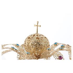 Coroncina Madonna ottone dorato - strass colorati s3