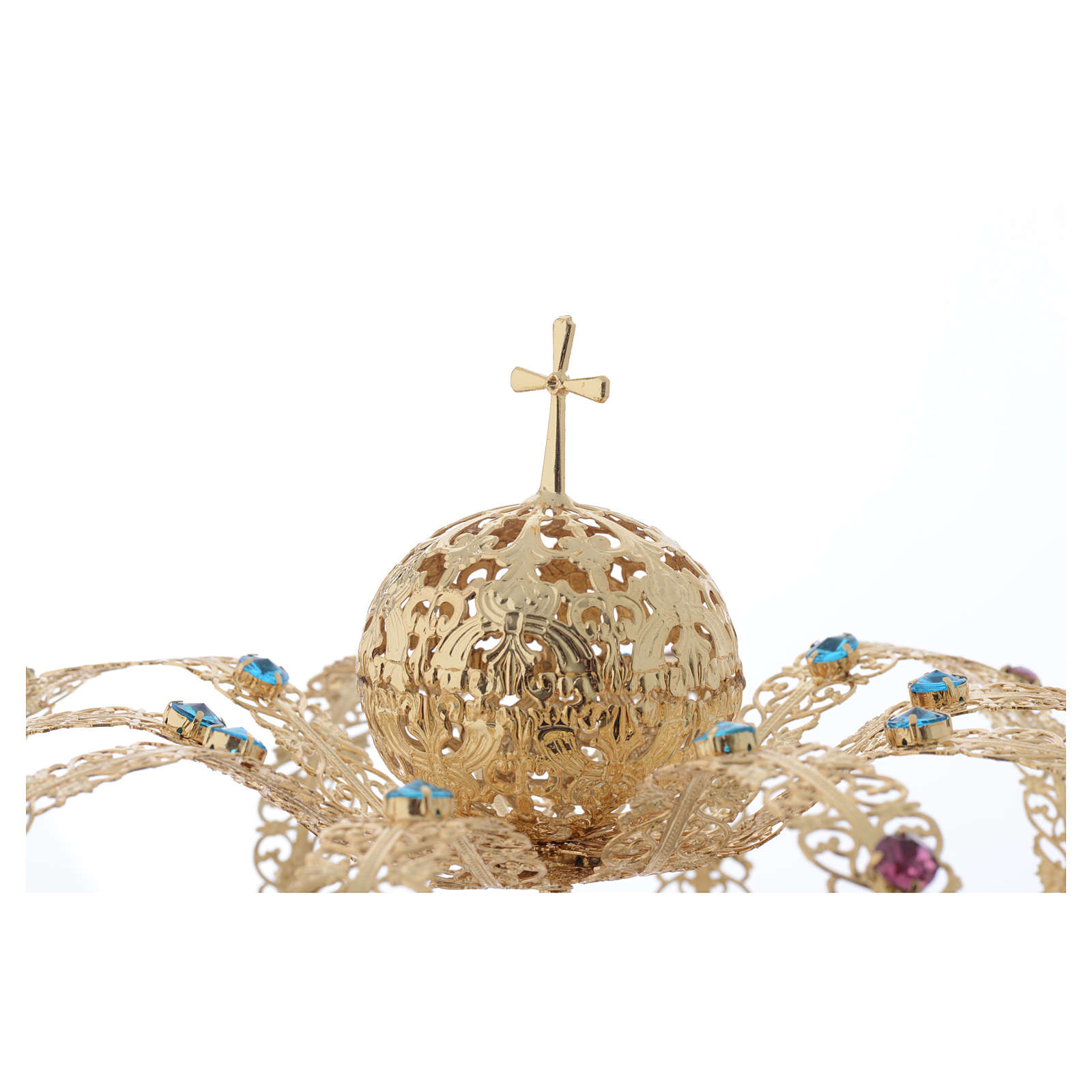 Coroa Nossa Senhora latão dourado strass corados 3