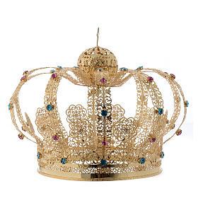 Coroa Nossa Senhora latão dourado strass corados s2