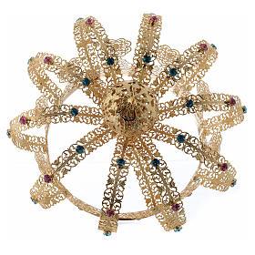 Coroa Nossa Senhora latão dourado strass corados s4