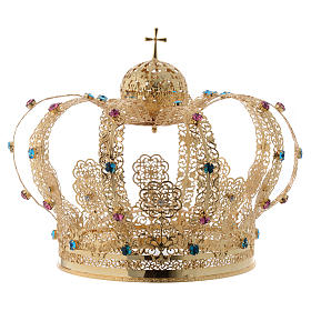 Our Lady Imperial Crown in Golden Brass - Colored Strass with Cross s1