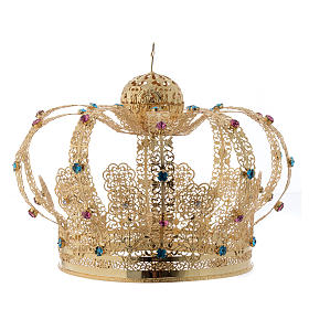 Our Lady Imperial Crown in Golden Brass - Colored Strass with Cross s2