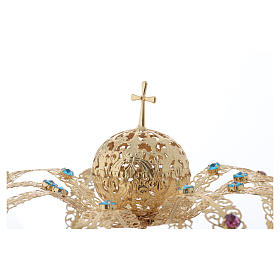 Our Lady Imperial Crown in Golden Brass - Colored Strass with Cross s3