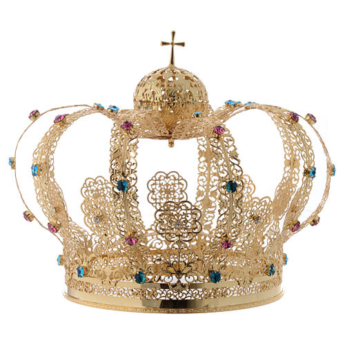 Our Lady Imperial Crown in Golden Brass - Colored Strass with Cross 1