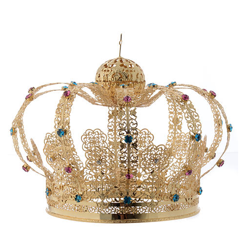 Our Lady Imperial Crown in Golden Brass - Colored Strass with Cross 2